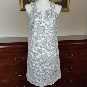 LOFT Gray and Lilac Linen Shift Dress Size 2